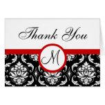 Black Red Damask Wedding Monogram Thank You Card