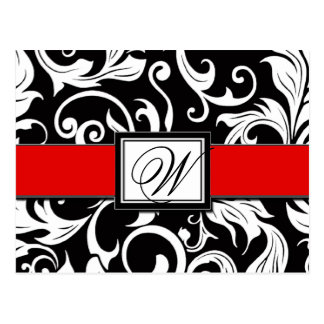 Black & Red Damask Wedding Save the Date Postcards