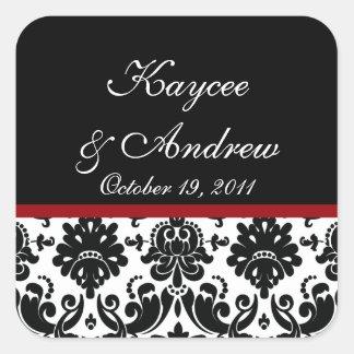 Black & Red Damask Wedding Square Sticker