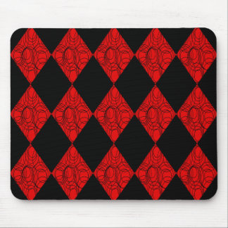 Black & Red Diamonds Mouse Pad
