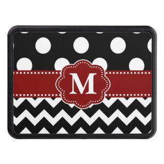 Black Red Dots Chevron Monogram Tow Hitch Cover