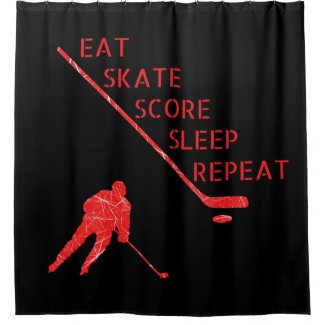 Black red - eat skate play hockey shower curtain