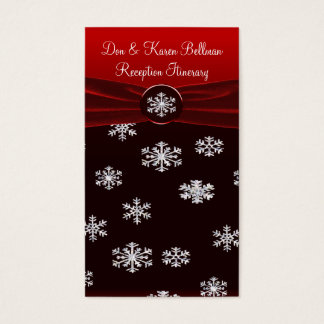 Black & Red Elegant Snowflakes Reception Itinerary Business Card