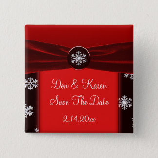 Black & Red Elegant Snowflakes Save The Date Pinback Button