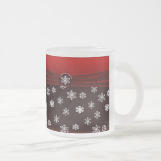 Black & Red Elegant Snowflakes Wedding Favor Mug