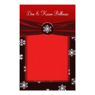 Black & Red Elegant Snowflakes Wedding Stationery