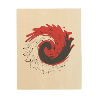 Black Red Feather Swirl Wood Wall Art