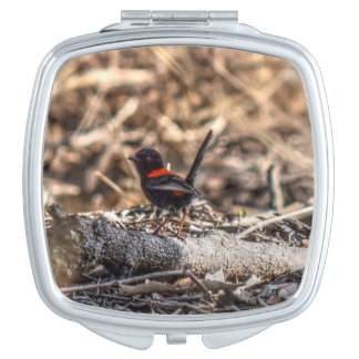 BLACK & RED FINCH RURAL QUEENSLAND AUSTRALIA VANITY MIRROR