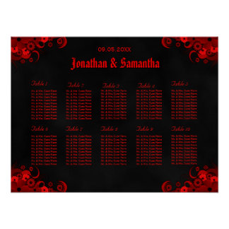 Black & Red Floral 10 Wedding Tables Seating Chart Poster