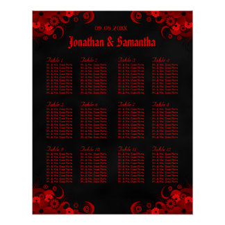 Black & Red Floral 12 Wedding Tables Seating Chart Poster