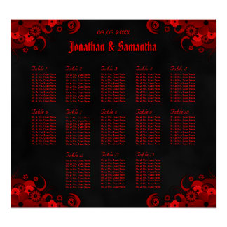 Black & Red Floral 13 Wedding Tables Seating Chart Poster