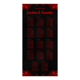 Black & Red Floral 14 Wedding Tables Seating Chart Poster