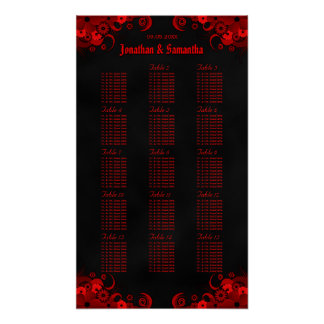 Black & Red Floral 15 Wedding Tables Seating Chart Poster