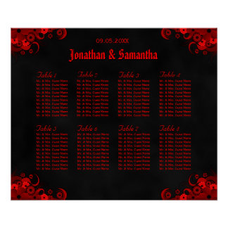 Black & Red Floral 8 Wedding Tables Seating Charts Poster