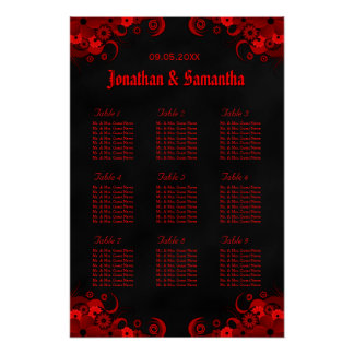 Black & Red Floral 9 Wedding Tables Seating Charts Poster