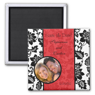 Black/Red Floral Damask Announcement Magnet