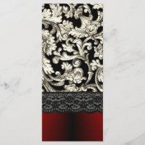 Black & red floral damask pattern