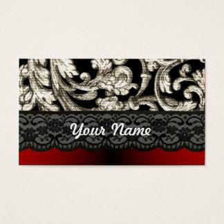 Black & red floral damask pattern business card