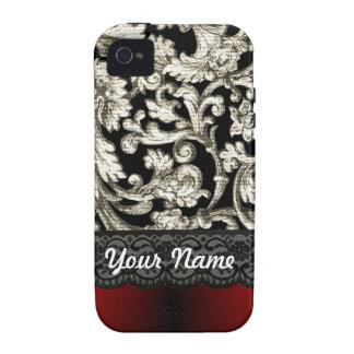 Black & red floral damask pattern vibe iPhone 4 case