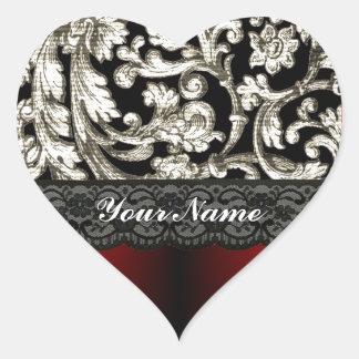Black & red floral damask pattern heart sticker