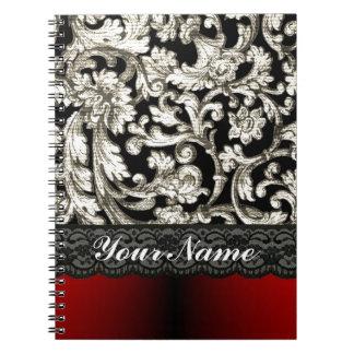 Black & red floral damask pattern notebook