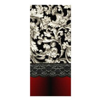 Black & red floral damask pattern rack card