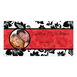 Black/Red Floral Damask Wedding Photo Announcement Picture Card