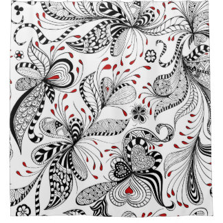 Red Patterned Shower Curtains Curtain Menzilperde Net