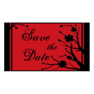 Black Red floral Save the Date business cards