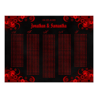 Black & Red Floral Wedding Table Seating Charts