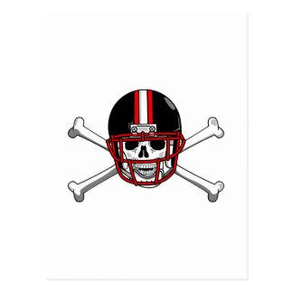 Black & Red Football Cross Bones Postcard