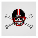 Black & Red Football Cross Bones Poster