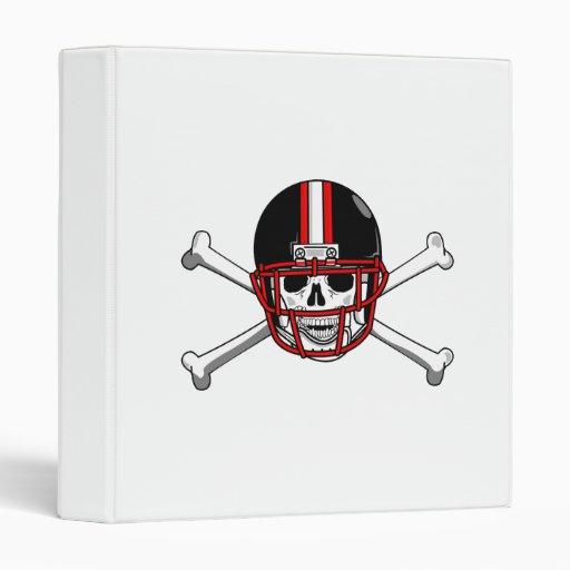 Black & Red Football Cross Bones Vinyl Binders