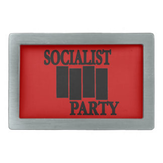 Black & Red Four Bars Socialist Party Belt Buckle