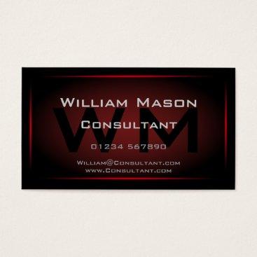 Professional Business Black & Red Framed Monogram - Business Card