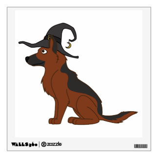 Black & Red German Shepherd with Witch Hat Wall Skin