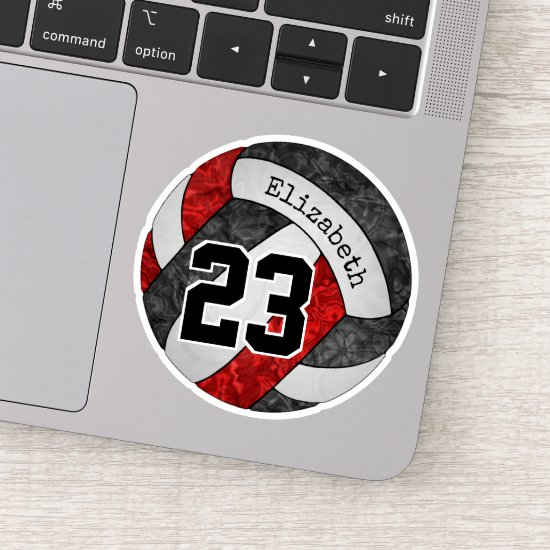black red girls volleyball w player name number sticker
