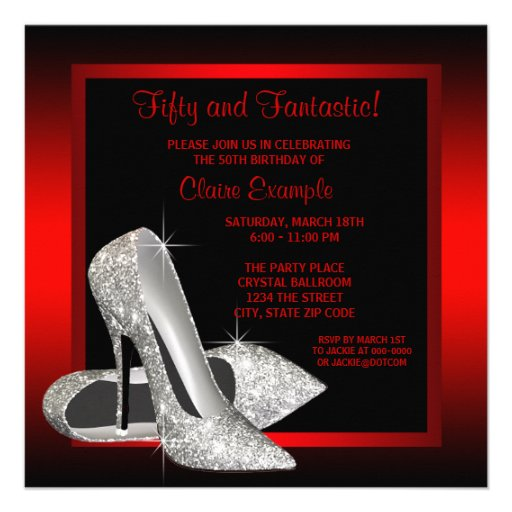 Black Red Glitter High Heels Womans 50th Birthday Custom Invite