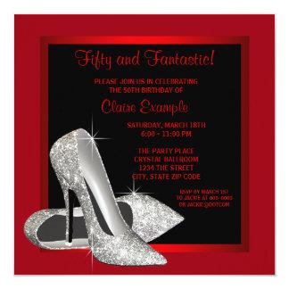 Black Red Glitter High Heels Womans 50th Brithday Card