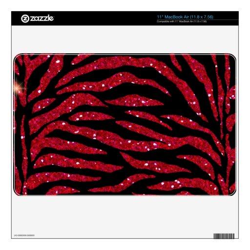 Black & Red Glitter Zebra Print Mac Air Skin MacBook Decals