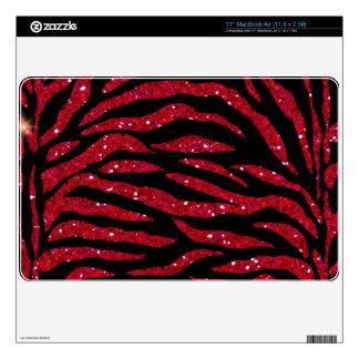 Black & Red Glitter Zebra Print Mac Air Skin MacBook Skins