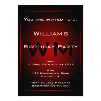 Black & Red Glow Monogram Sci-fi  Invitation