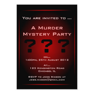 Murder mystery invitations announcements zazzle black red glow murder mystery party invitation stopboris Images