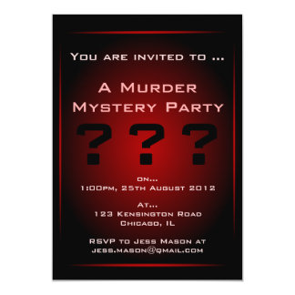 Murder mystery invitations announcements zazzle black amp red glow murder mystery party invitation stopboris Image collections