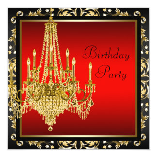 Black Red Gold Chandelier Birthday Party Card