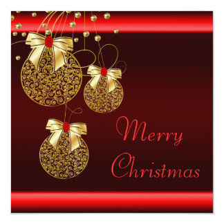 Black Red Gold Christmas Party Card
