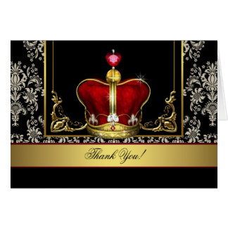 Black Red Gold Crown King Prince Thank You Cards