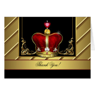 Black Red Gold Crown King Prince Thank You Cards Note Card