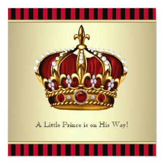 Black Red Gold Crown Little Prince Boy Baby Shower Invitation
