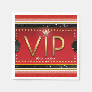 Black Red Gold Glam Stars VIP Ticket Custom Party Paper Napkin
